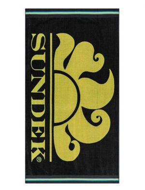 Da Hobby Sport Telo mare Sundek in morbida spugna di cotone, lavorazione jacquard - Nero